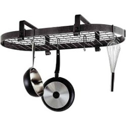 Enclume Hammered Steel Oval Pot Rack for Kitchens with Low Ceiling found on Bargain Bro India from Kitchen Source for $369.99