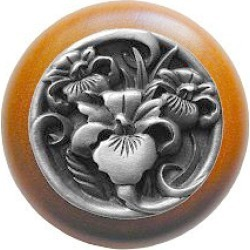 Notting Hill River Iris/Natural Wood Knob, Antique Pewter, 1 1/2 inch diameter