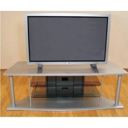 Altra Furniture 60 TV Stand with Smoked Glass Shelves, 59-3/5 W x 20-3/5 D x 19-7/16 H, Silver