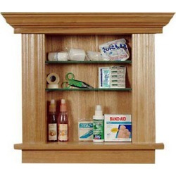 Recessed Cabinetry Small Bathroom Medicine Cabinet, Oak, Wood Shelves, Antique Brass Hardware, Right Hinge, Cherry found on Bargain Bro Philippines from Kitchen Source for $268.82