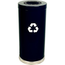 Witt Steel Single Recycling Trash Container, Black, 24 Gal.