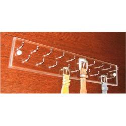 Custom Inserts Acrylic Belt Rack, 19 inch Length, 19 Brushed Stainless Steel Hooks