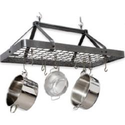 Enclume Hammered Steel Carnival Rectangle Kitchen Pot Rack