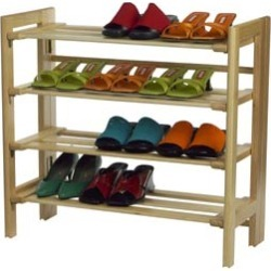 Winsome Wood Four Tier Shoe Rack in Natural Finish