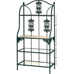 Grace Vineyard Style Bakers Rack w/Grapes, Jade Patina, Bleached, 4 Wood Shelves found on Bargain Bro India from Kitchen Source for $911.92
