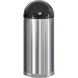 United Receptacle 15 gallon round chrome  trash can with push lid and plastic liner bin found on Bargain Bro from Kitchen Source for $340.46