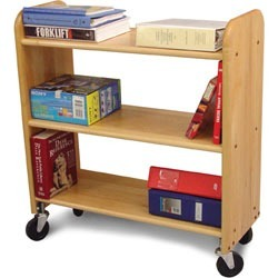 Catskill Craftsmen Library Book Truck in Birch w/ Walnut Stain