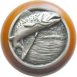 Notting Hill Leaping Trout/Natural Wood Knob, Antique Pewter, 1 1/2 inch diameter