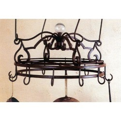 SteelWorx Natural Rust Small Round Pot Rack with Iron Finial Crown