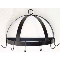 Grace Half Round Wrought Iron Wall Mounted Pot Rack with Curls