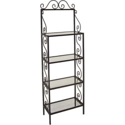 Grace 24 inch Traditional Style Bakers Rack, 4 Glass Shelves, Brass Tips, Gun Metal