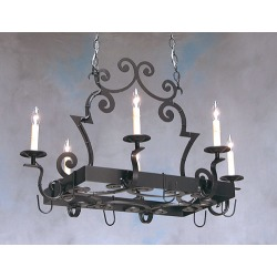 2nd Ave Elara Scrollwork Rectangular Hanging Pot Rack with 6 Candelabra Light Sockets Finished