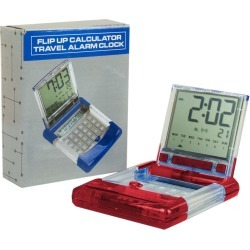 Flip Up Calculator with Travel Alarm Clock in Red