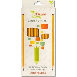12 Pack Yellow #2HB Pencils with Eraser Tips