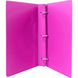 1In Heavy Duty Binder With Reinforced Spine, Bright Pink
