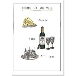 Birthday Card: Things that age well. Cheese, wine, You! Happy Birthday found on Bargain Bro India from leanintree.com for $1.95