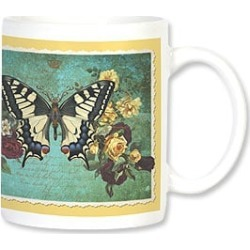 Ceramic Mug: Cream & Blue Butterfly found on Bargain Bro India from leanintree.com for $8.95