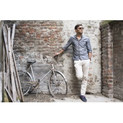 """Man With His Bicycle Wallpaper Mural by Limitless Walls 