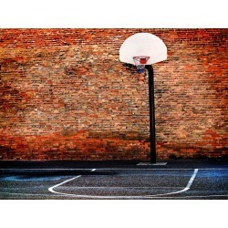 "Urban Basketball Court Wallpaper Mural by Limitless Walls | Small 5'5"" W x 4'3"" H | Standard Canvas Fabric"