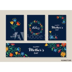 "Happy Mothers Day Set Of Flower Labels And Cards Wallpaper Mural by Limitless Walls | Standard Canvas Fabric | Small 5'5"" W"