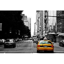 Yellow Taxi Cab On Black And White Street Background Nyc Wallpaper Mural by Limitless Walls | Standard Canvas Fabric | Small 5�