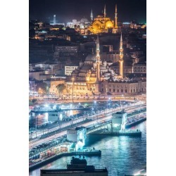 "Night Istanbul Bridge Bosphorus Vertical Wallpaper Mural by Limitless Walls | Small 5'5"" W x 4'3"" H 