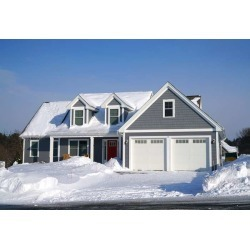 """Winter House Front View After Snow Storm Wallpaper Mural by Limitless Walls 