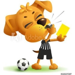 Referee Dog Shows Yellow Card Violation Of Rules When Playing Soccer Wallpaper Mural by Limitless Walls | Standard Canvas Fabric