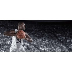 African American Basketball Player In A Large Basketball Arena Wallpaper Mural by Limitless Walls | Standard Canvas Fabric | Sma
