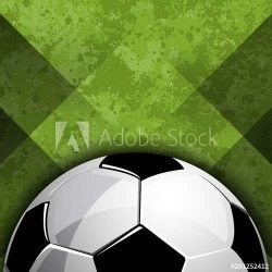Football Soccer Ball On Abstract Green Field Background Vector Illustration Wallpaper Mural by Limitless Walls | Standard Canvas