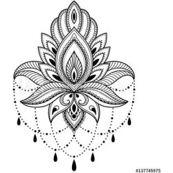 Henna Tattoo Flower Template In Indian Style Ethnic Floral Paisley - Lotus Mehndi Style Wallpaper Mural by Limitless Walls   Sta