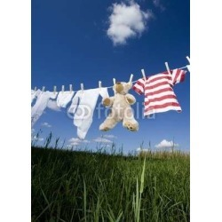 """Baby Clothing On A Clothesline Wallpaper Mural by Limitless Walls 