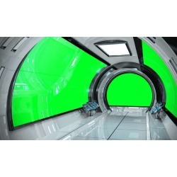 "Spaceship Bright Interior With 3D Rendering Wallpaper Mural by Limitless Walls | Small 5'5"" W x 4'3"" H 