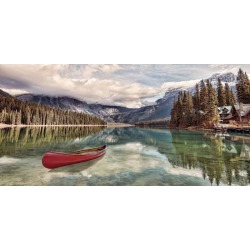 """Red Canoe On Emerald Lake Wallpaper Mural by Limitless Walls 