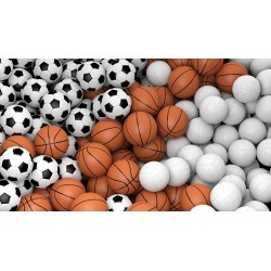 "Volleyballs Basketballs And Soccer Balls Wallpaper Mural by Limitless Walls | Small 5'5"" W x 4'3"" H 