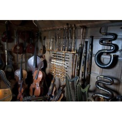 A Collection Of Musical Instruments In Snowshill England Wallpaper Mural by Limitless Walls | Standard Canvas Fabric | Small 5�