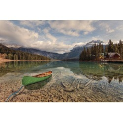 """Canoe On Emerald Lake Wallpaper Mural by Limitless Walls 