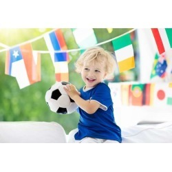 """Kids Watch Football Game Child Watching Soccer Wallpaper Mural by Limitless Walls 