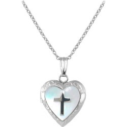 Child Jewelry - Silver Mother of Pearl Cross Heart Locket Necklace (15 in)