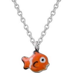 Children Jewelry - Sterling Silver Enameled Clown Fish Necklace (14, 15 in)