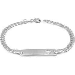 Children Jewelry - 6 1/2 Inches Silver Heart Curb Link ID Bracelet