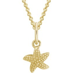 Kids Jewelry For Girls - Sterling Silver Starfish Pendant Necklace (14, 15 in)