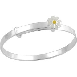Kids Jewelry - Silver Enamel Daisy Adjustable Bangle Bracelet For Girls found on Bargain Bro India from Loveivy.com for $75.95