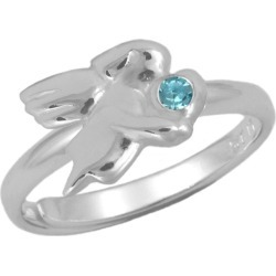 Silver March Birthstone Girls Angel Ring Adjustable Size 3 To 7