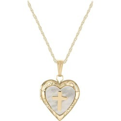 Child Jewelry - 14K Yellow Gold Mother of Pearl Cross Heart Locket Necklace (15 in)