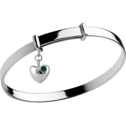 Girl's Silver May Birthstone Heart Charm Adjustable Bangle Bracelet found on Bargain Bro India from Loveivy.com for $69.95