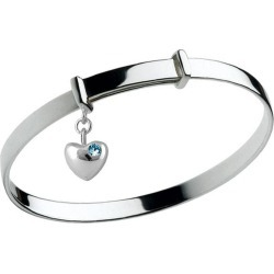 Girl's Silver March Birthstone Heart Charm Adjustable Bangle Bracelet found on Bargain Bro India from Loveivy.com for $69.95