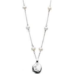 Sterling Silver Oval Locket with Cultured Pearl Chain Necklace For Girls (14-16...