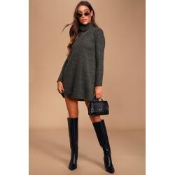Alaina Dark Olive Green Long Sleeve Turtleneck Sweater Dress   Lulus