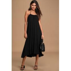 Casual Cutie Black Halter High-Low Midi Dress   Lulus
